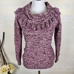 Spense Fringe Cowl Neck Purple Marled Sweater